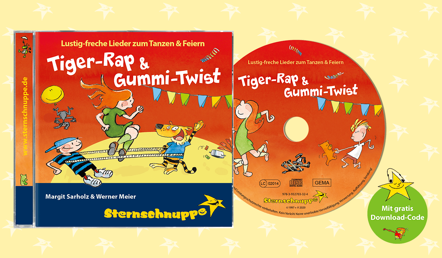 Kinderlieder-CD für die Kinderparty: Tiger-Rap & Gummi-Twist