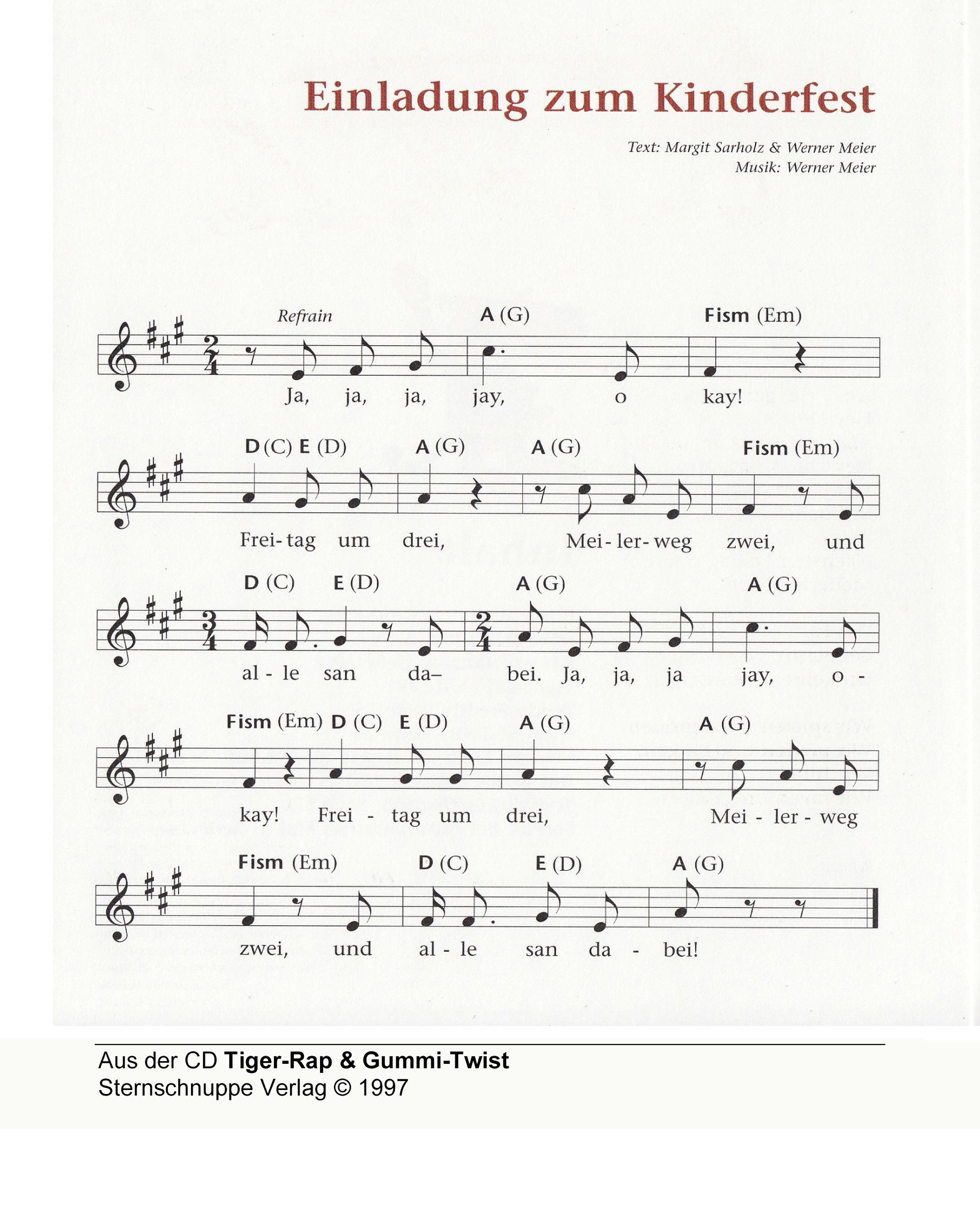 einladung zum kinderfest - kinderlieder texte und noten, Einladungen