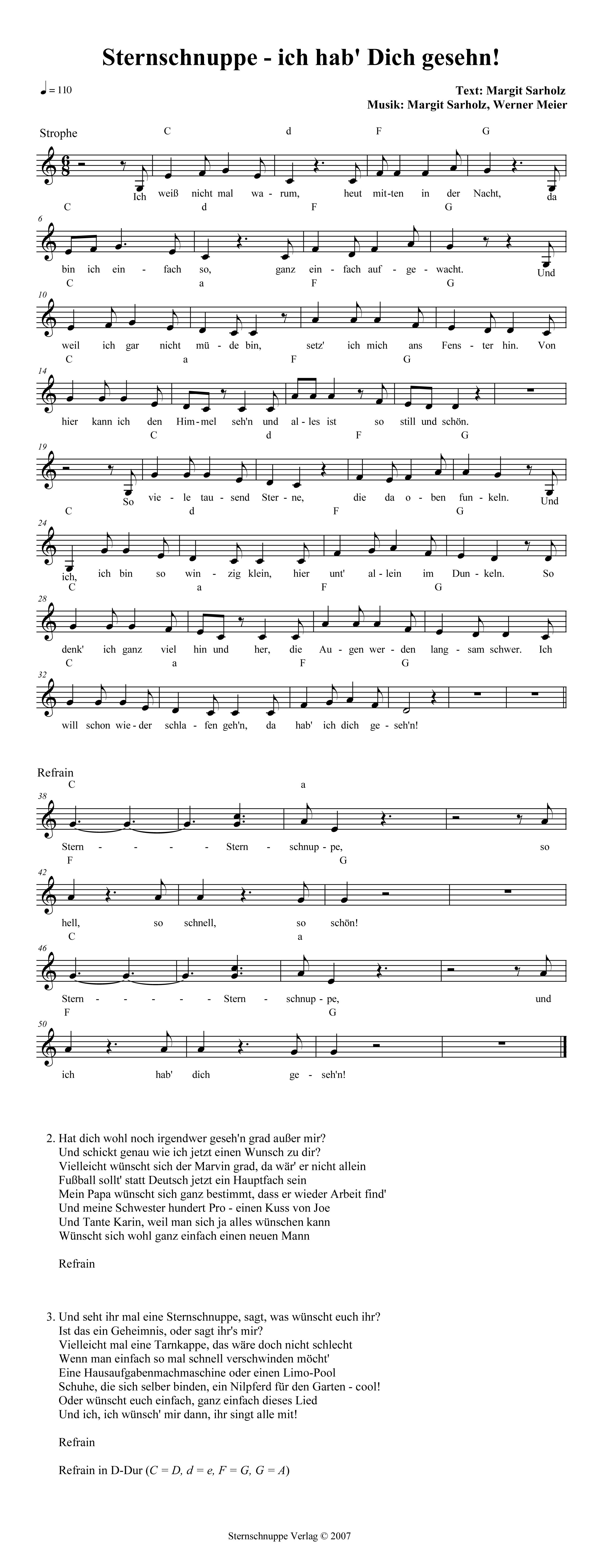 Sternschnuppe - ich hab\' Dich gesehn! - Kinderlieder Texte und Noten